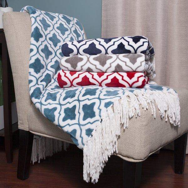 Ultra Plush Flannel Fringed Throw Blanket with Scrolling Crest Pattern (50 inches x 60 inches)
