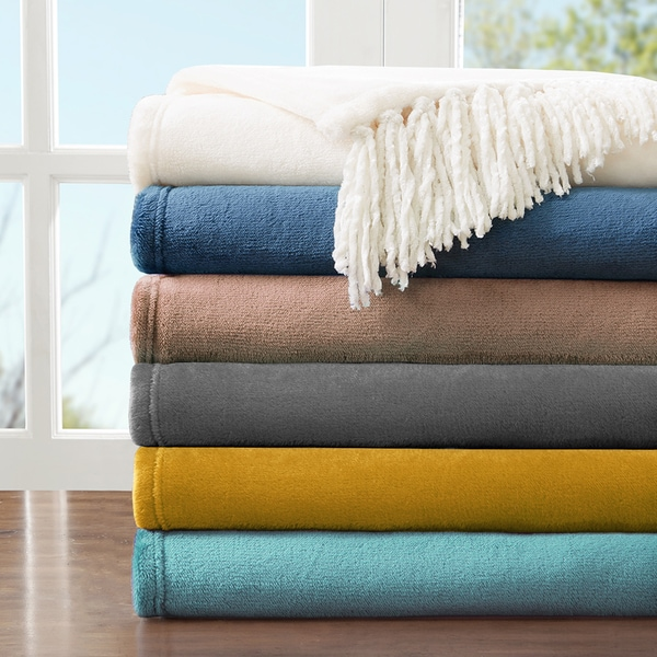 Solid Color Ultra Plush Flannel Fringed Throw Blanket (50 inches x 60 inches)