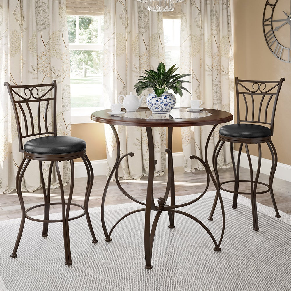 CorLiving 3pc Counter Height Glossy Barstool and Bistro T...
