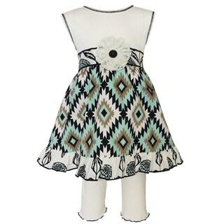 Ann Loren Girl's Boutique Dress and Legging Capri Outift