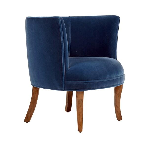 Jaxon Bella Navy Blue Velvet Upholstered Armchair Free