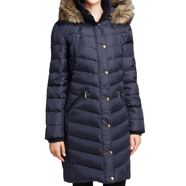 Michael Michael Kors Women's Navy Ruched Down Puffer Coat