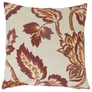 Rhynisha Floral Feather and Down Filled 18-inch Throw Pillow