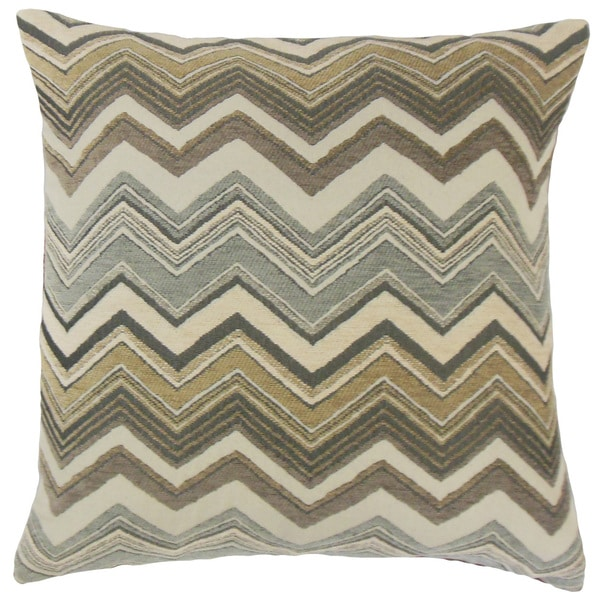 Saroja Zigzag Feather and Down Filled 18-inch Throw Pillow