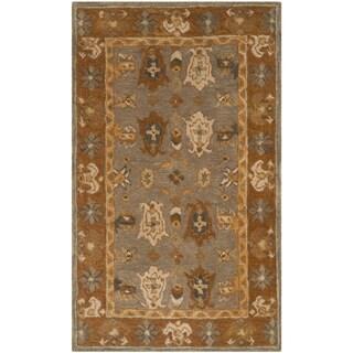 Safavieh Handmade Anatolia Clementine Traditional Oriental Hand-spun Wool Rug (3 x 5 - Light Grey/Gold)