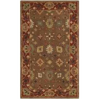 Safavieh Handmade Heritage Timeless Traditional Moss/ Rust Wool Rug (3' x 5')