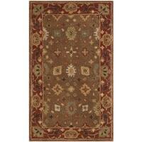 Safavieh Handmade Heritage Timeless Traditional Moss/ Rust Wool Rug - 3' x 5'