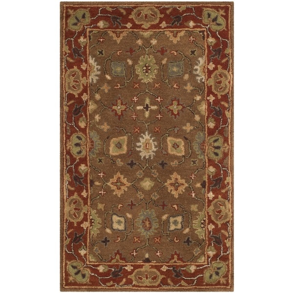 Safavieh Handmade Heritage Timeless Traditional Moss/ Rust Wool Rug - 3' x 5'