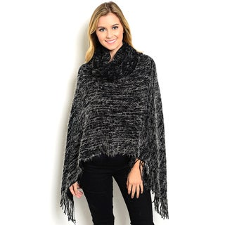 Women's Super Soft Marled Heather Knit Chunky Turtleneck Poncho With Fringe Trim