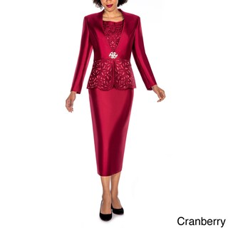 Giovanna Collection Women's Laser-Cut Embellished 3-Piece Skirt Suit (Option: 18 - CRANBERRY)