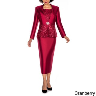 Giovanna Collection Women's Laser-Cut Embellished 3-Piece Skirt Suit