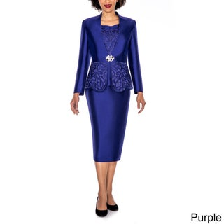 Giovanna Collection Women's Laser-Cut Embellished 3-Piece Skirt Suit (Option: 18 - Purple)