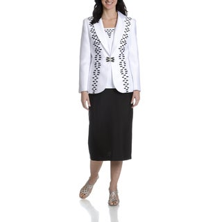 Ella Belle Women's 3-Piece Ribbon Thread Detail Skirt Suit