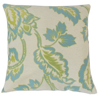 Altessa Floral Feather and Down Filled 18-inch Throw Pillow