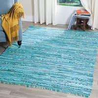 Safavieh Hand-Woven Rag Turquoise/ Multi Cotton Rug - 4' x 6'