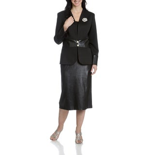 Giovanna Signature Women's Collarless Faux Leather Laser Cut 2-Piece Skirt Suit