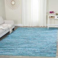 Safavieh Hand-Woven Rag Turquoise/ Multi Cotton Rug - 5' x 7'