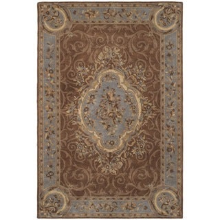 Safavieh Hand-Tufted Empire Blue/ Brown Wool Rug (9'6 x 13'6)