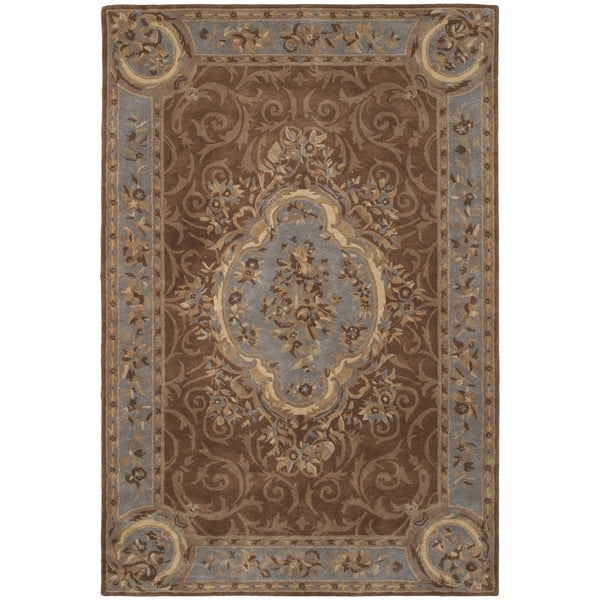 Safavieh Hand-Tufted Empire Blue/ Brown Wool Rug - 9'6 x 13'6