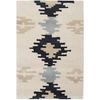 Safavieh Hand-Tufted Soho Ivory/ Dark Grey Wool/ Viscose Rug - 2' x 3'