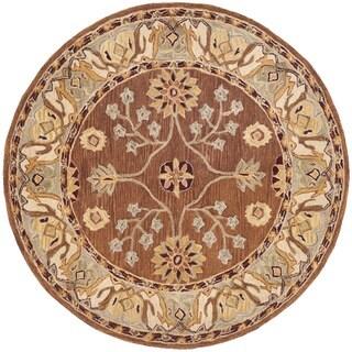 Safavieh Handmade Anatolia Classic Oriental Tan/ Ivory Hand-spun Wool Rug (6' Round)