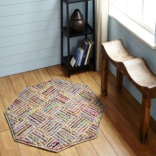 Multi-color Criss Cross Octogonal Rug by Better Trends (5' x 5')