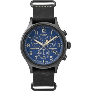 Timex Men's TW4B042009J Expedition Scout Chrono Black Leather Slip-Thru Strap Watch
