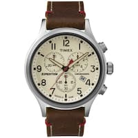 Timex Men's  Expedition Scout Chrono Brown Leather Slip-Thru Strap Watch