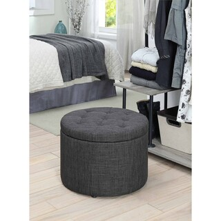 Porch & Den Bywater Congress Round Shoe Storage Ottoman (Option: Grey Fabric)