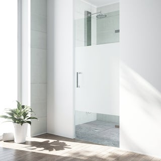 VIGO SoHo 28-inch Adjustable Frameless Shower Door with Privacy Panel Glass and Chrome Hardware