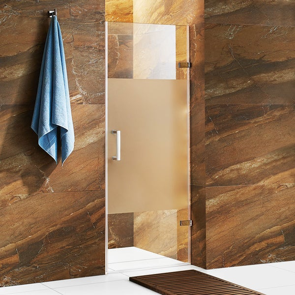 vigo soho 28 inch adjustable frameless shower door with privacy panel