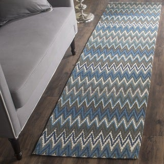 Safavieh Handmade Cedar Brook Teal/ Blue Cotton Rug (2' x 8')