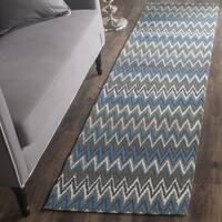 Safavieh Handmade Cedar Brook Teal/ Blue Cotton Rug - 2' x 8'