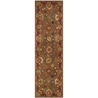 Safavieh Handmade Heritage Timeless Traditional Moss/ Rust Wool Rug (2'3 x 10')