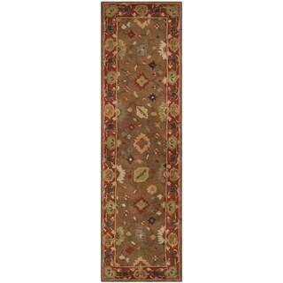 Safavieh Handmade Heritage Timeless Traditional Moss/ Rust Wool Rug (2'3 x 6')