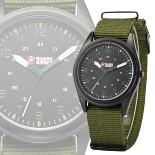 SHARK Army Mens Luminous Stainless Steel with Green Nylon Band Watch