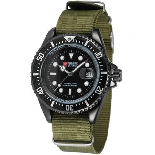 Shark Sport Watch Mens Army 42mm Stainless Steel Green Nylon Band Military Sport Quartz Watch