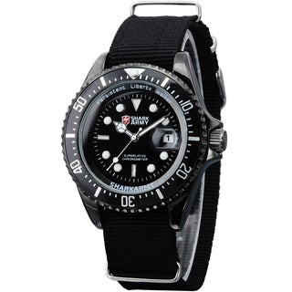 SHARK Army Mens 42mm Stainless Steel Black Nylon Band Military Sport Quartz Watch