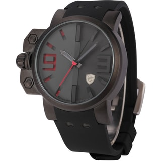 Shark Sport Watch Mens Army Black/ Red 3D Dial Water-resistant Silicone Band Watch
