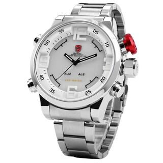 Shark Sport Watch Mens White LED Display Sport Stainless Steel Quartz Watch