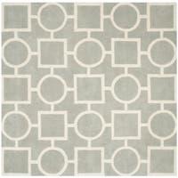 Safavieh Handmade Moroccan Chatham Grey/ Ivory Wool Rug - 7' Square