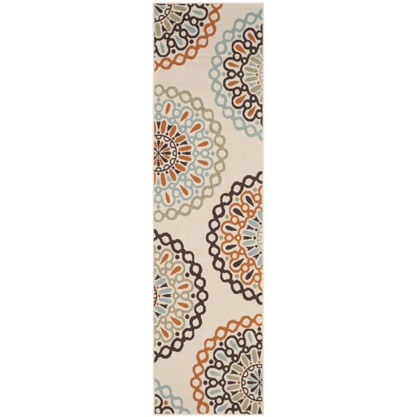 Safavieh Indoor/ Outdoor Veranda Cream/ Terracotta Rug (2'3 x 8') - 2'3 x 8'