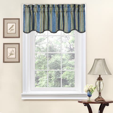 Traditions by Waverly Stripe Ensemble Scalloped Window Valance - 52x16