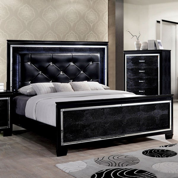 Furniture Of America Tallone Black Tufted Leather Platform Bed With Led Headboard