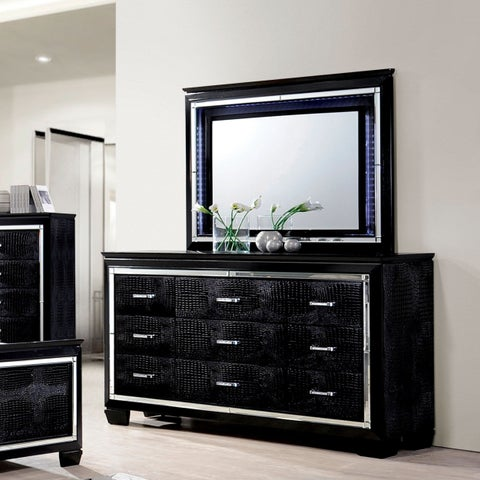 Furniture of America Tallone Contemporary 2-piece Crocodile Textured 9-drawer Dresser and Mirror Set