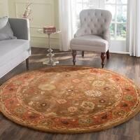 Safavieh Handmade Heritage Timeless Traditional Moss/ Rust Wool Rug (6' Round)