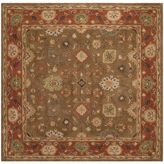 Safavieh Handmade Heritage Timeless Traditional Moss/ Rust Wool Rug (4' Square)