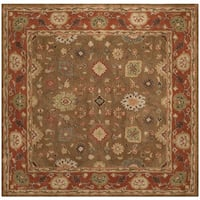 Safavieh Handmade Heritage Timeless Traditional Moss/ Rust Wool Rug - 4' x 4' Square