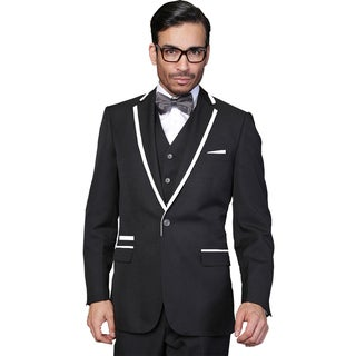 Men's Wool Statement Venetian Black 3-piece Tuxedo Suit