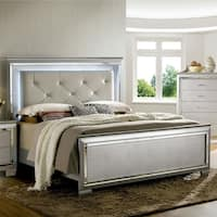Furniture of America Tallone Silver Tufted Platform Bed with LED Headboard